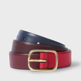 Paul Smith Women's Red, Damson And Navy Colour-Block Leather Belt