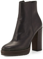 Brunello Cucinelli Leather Platform Ankle Boot, Black