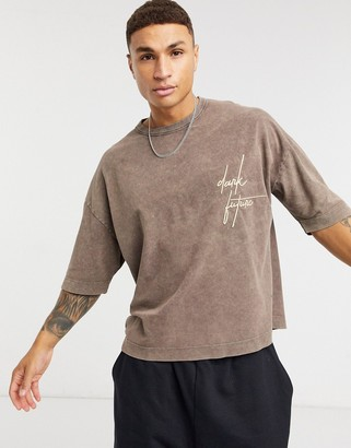 ASOS Dark Future oversized t-shirt in brown acid wash and embroidery detail in pique
