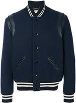 Saint Laurent classic bomber jacket - men - Silk/Cotton/Lamb Skin/Wool - 46