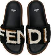 Fendi Stripy Shearling Sandals