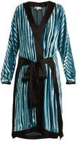 Diane von Furstenberg Striped tie-waist velvet-devoré dress
