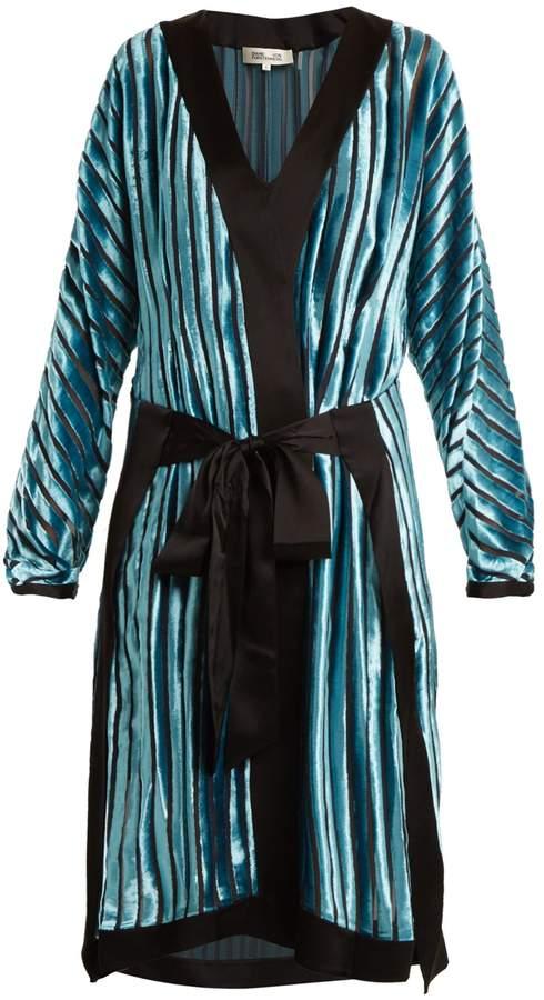 Diane von Furstenberg Striped tie-waist velvet-devoré dress