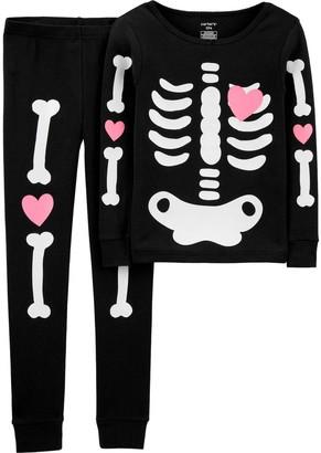 Carter's Girls 4-14 Halloween Skeleton Pajama Set