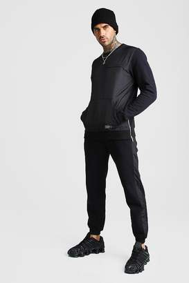 BoohoomanBoohooMAN Mens Black MAN Nylon Panelled jumper Tracksuit With Zips, Black