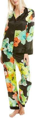 Josie Natori 2Pc Ophelia Silk-Blend Pajama Pant Set