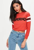 Missguided Petite Red Cropped Embroidered Sweatshirt, Red