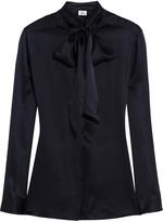 Iris & Ink Silk-satin pussy-bow blouse