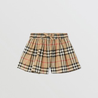 Burberry Childrens Vintage Check Gathered Cotton Shorts