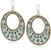 Miguel Ases Open Circle Miniature Floral Turquoise Hoop Drop Earrings