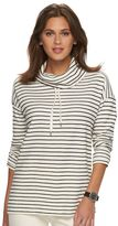 Chaps Petite Striped Thermal Cowlneck Pullover