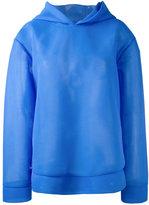 MSGM semi-sheer hoodie - women - Polyamide/Polyester - 40
