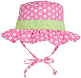 I Play Reversible Ruffle Bucket Sun Protection Hat (Baby/Toddler) - Hot Pink Daisy - 3-6 Months