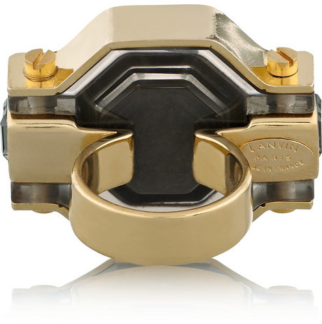 Lanvin Marie-Laure gold-tone, crystal and resin ring