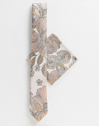 Twisted Tailor floral print tie with pocket square in pink and yellow