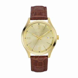 Caravelle Men's Stainless Steel Quartz Watch with Leather-Crocodile Strap
