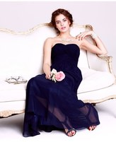 JS Boutique Strapless Ruched Chiffon Gown