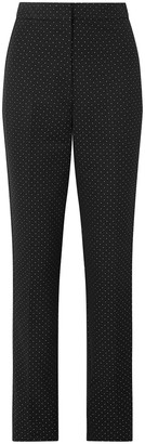 Erdem Emanuelle Polka-dot Cotton-blend Jacquard Straight-leg Pants