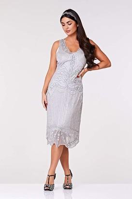 Gatsbylady London Elsa Midi Length Flapper Dress in Silver