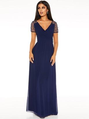 Quiz Chiffon Wrap Embellished Cap Sleeve Bridesmaid Maxi Dress - Navy