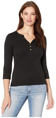 Lauren Ralph Lauren Stretch Henley Tee (Polo Black) Women's T Shirt