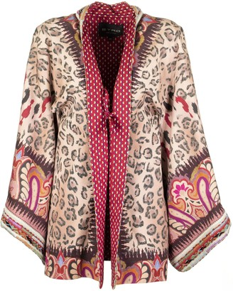 Etro Kimono Jacket With Paisley Print With Animal Design