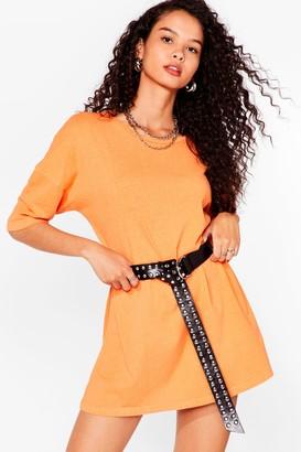 Nasty Gal Womens Acid Wash the Record Tee Dress - Orange