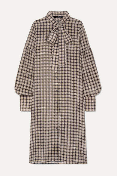 Rokh Pussy-bow Houndstooth Silk Crepe De Chine Dress - Beige