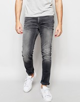 Jack & Jones Washed Grey Jeans In Skinny Fit With Stretch