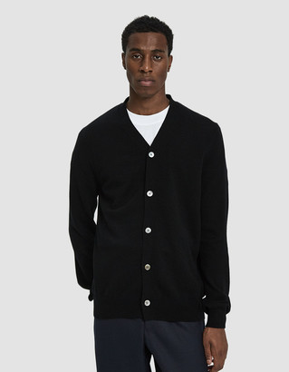 Comme des Garcons Small Black Heart Sleeve Cardigan Sweater in Black