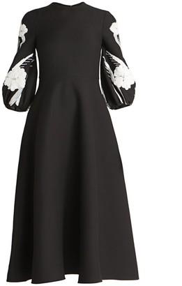 Valentino Embellished Puff-Sleeve Virgin-Wool & Silk Flare Dress