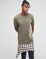 Asos Extreme Longline T-Shirt With Shredded Check Hem Extender In Khaki