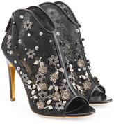 Rupert Sanderson Embellished Mesh and Leather Peep Toe Heels