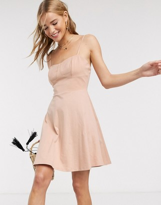 ASOS DESIGN mini square neck sundress with cup seams in beige