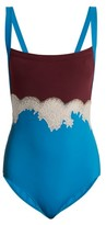 Valentino Lace-trimmed Square-neck Bodysuit - Womens - Blue