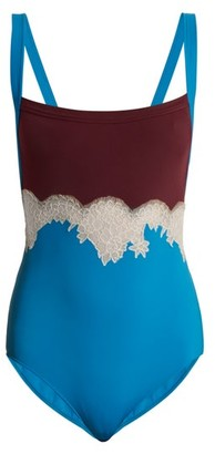 Valentino Lace-trimmed Square-neck Bodysuit - Blue