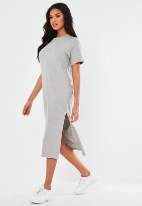 Missguided Grey Basic T Shirt Midi Dress