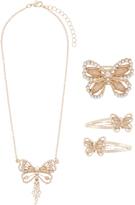 Monsoon Pearl Sparkle Butterfly Tassel Necklace Set