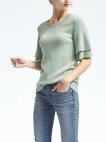 Banana Republic Todd & Duncan Cashmere Flutter-Sleeve Pullover
