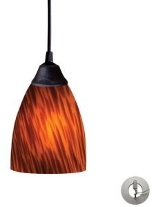 Elk Lighting Classico 1 Light Pendant in Dark Rust and Espresso Glass - Includes Adapter Kit