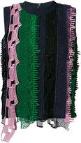 Versace open embroidery stripe tank top - women - Silk/Polyethylene/Viscose - 42