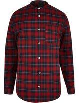 River Island MensRed casual slim fit grandad check shirt