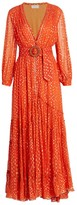 Rococo Sand Metallic Button-Front Maxi Dress