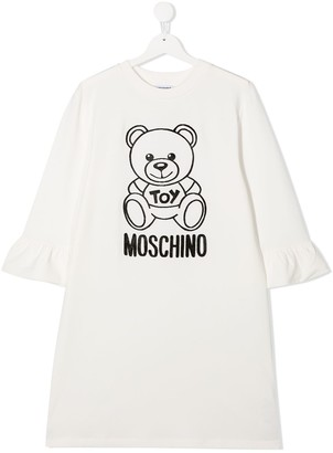 MOSCHINO BAMBINO TEEN textured logo dress