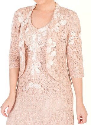 Chesca Ombre Cornelli Lace Jacket, Blush/Ivory