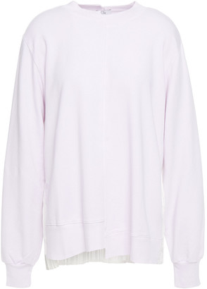 Clu Pleated Satin-paneled French Cotton-blend Terry Sweatshirt