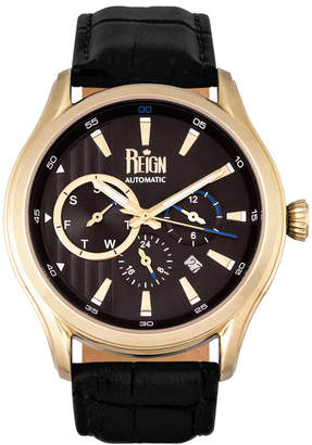 Reign Gustaf Automatic Black Dial, Gold Case, Genuine Black Leather Watch 43mm