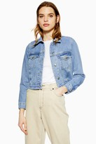 Topshop Womens Petite Blue Fitted Denim Jacket - Mid Stone