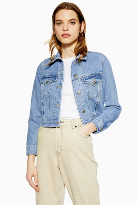 Topshop Womens Petite Fitted Denim Jacket - Mid Stone