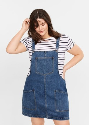 MANGO Violeta BY Pocket denim pinafore dress dark blue - 10 - Plus sizes